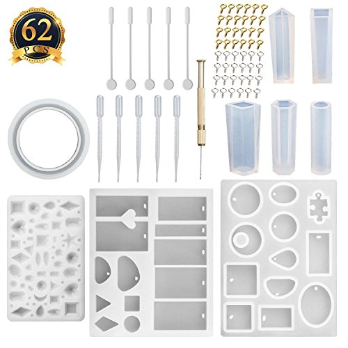 SUBANG 9 Pack Jewelry Casting Molds Silicone Resin Jewelry Molds with 48 Screw Eye Pins, 2 Plastic Stirrers, 1 Hand Twist Drill and 2 Plastic Droppers by SUBANG