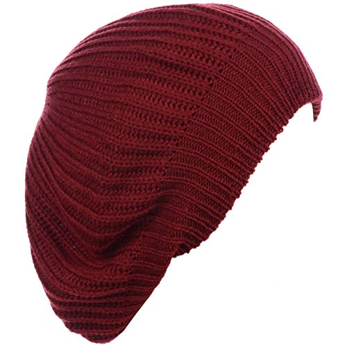(BYOS Ladies Winter Solid Chic Slouchy Ribbed Crochet Knit Beret Beanie Hat Red)