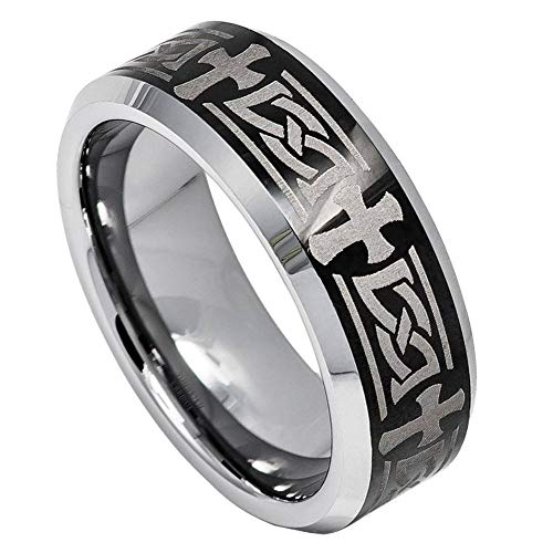 (Free Engraving 8mm Tungsten Carbide Beveled Edge Ring with Celtic Cross Engraved on High Polished/Shiny Black IP Plated Center Wedding Band Ring)