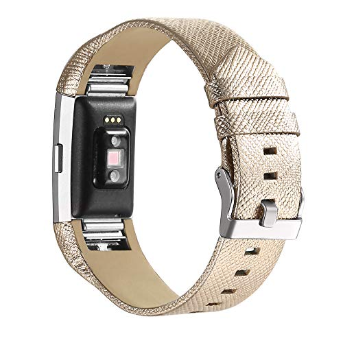 bayite Leather Bands Compatible with Fitbit Charge 2, Replacement Accessories Straps Women Men (Yellow Gold) ()