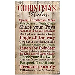 P. Graham Dunn Christmas Rules Family Cheer Snowflakes 15 x 9 inch Pine Wood Plank Wall Sign Plaque