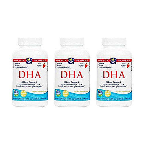 Nordic Naturals DHA Strawberry, Strawberry 180 softgels 500 mg(Pack of 3) by Nordic Naturals