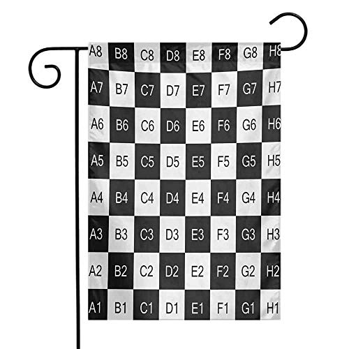 Checkers Game Garden Flag Monochrome Chess Board Design with Tile Coordinates Mosaic Square Pattern Decorative Flags for Garden Yard Lawn W12 x L18 Black White
