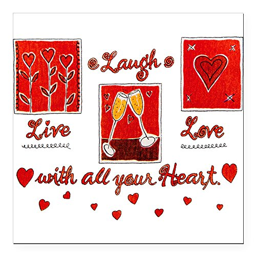 Square Car Magnet 3 x 3 Inch Laugh Live Love With Your Heart