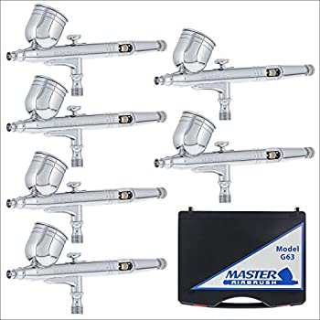 Image of Airbrush Sets 6 Pack Set of Multi-Purpose Precision Dual-Action Gravity Feed Airbrushes