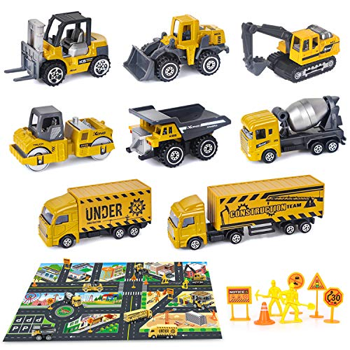 Dreamon Engineering Construction Vehicle with Play Mat, Diecast Digger Dumper Alloy Metal Car Play Set Cake Decorations…