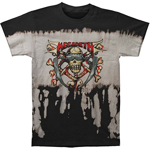 Megadeth Mens Skull & Crossbones Bleach Waterful T T-shirt Black