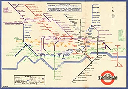 London Underground Tube Map Plan Diagram 2nd Harry Beck Edition August 1933 Old Antique Vintage Map Printed Maps Of London Amazon Co Uk Kitchen Home