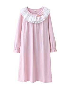 Kid Girls' Long Sleeve Princess Lace Neckline Nightgown Sleepwear Long Sleeve Pink 8-9