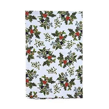 Holly y hiedra verde rojo blanco Navidad 100% algodón toalla de té: Amazon.es: Jardín