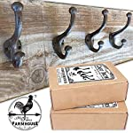 Set of 4 Dark Rustic Brown, Cast Iron, Wall Mounted Hooks (Including Matching Screws) Vintage Inspired, Perfect for Coats, Bags, Hats, Towels, Scarfs, etc. by My Fancy Farmhouse