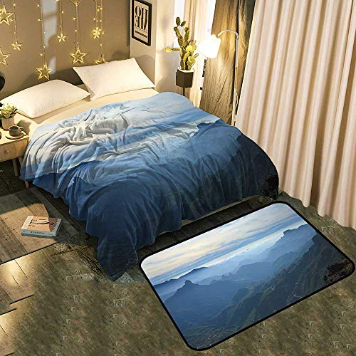 - UNOSEKS-Home A Blanket and A Floor Mat Set Gran Canaria,Caldera de Tejeda,Mist is Settling Over Caldera Chic Pattern Anti-Static Blanket 60