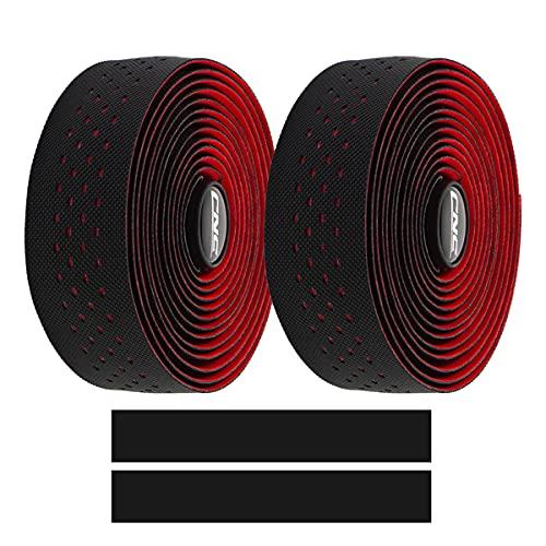 2 Cintas cnc corcho para manubrio de bicicleta (negro/rojo)