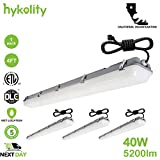 Hykolity 4FT LED Vapor and Water Tight Weatherproof Light Fixture With Plug Cord 40W [100W Equivalent] 4400lm 5000K IP66 Waterproof Industrial Grade Shop Light Cooler Lamp Outdoor Patio Light - 4 Pack