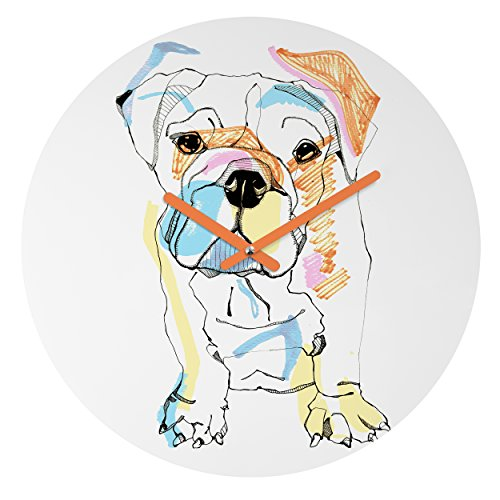 (Deny Designs Casey Rogers, Bulldog Color, Round Clock, Round, 12