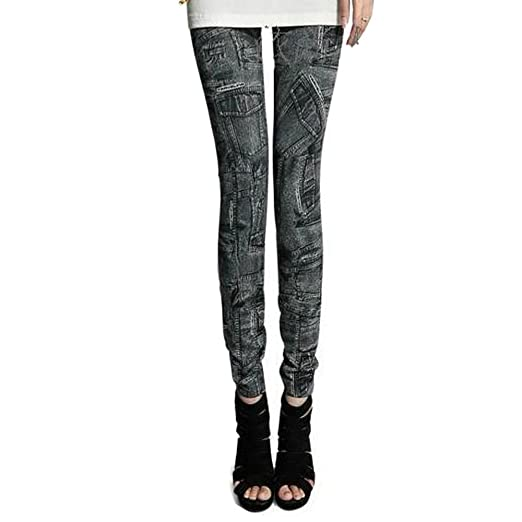 714fcf968 LOCOMO Women Denim Print Fake Multi Pocket Jeans Legging S-M FFT016BLK Black