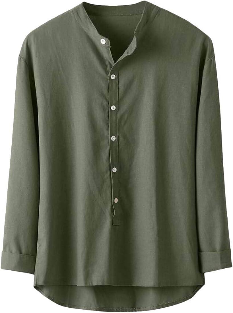 YONGM Mens Fashion Linen Shirt Casual Button Down Long Sleeve Cotton Lightweight Shirts