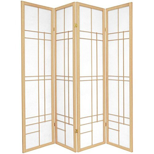 Oriental Furniture 6 ft. Tall Eudes Shoji Screen - Natural - 4 Panels by ORIENTAL FURNITURE
