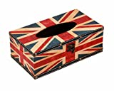 S Forever Retro Series Waterproof Faux Leather Rectangular Tissue Box Cover (British Flag)