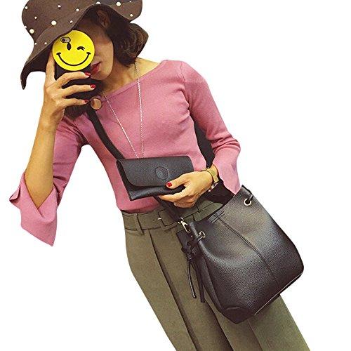 Sac ESAILQ Capacité main Mode Femmes à cuir Sac Gris Sac en Messenger Cross bandoulière Grande Pochette à Body 8xprnY8