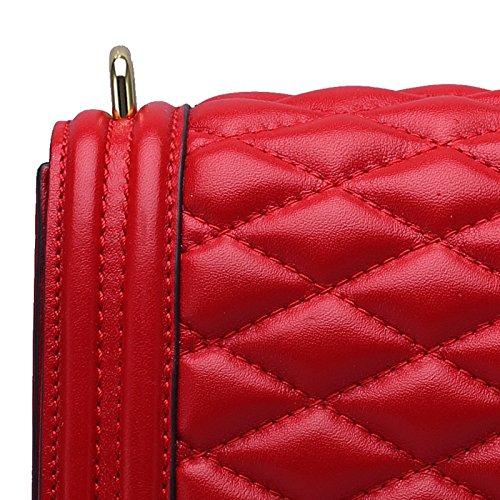 Bag Chain High Genuine Female Totes Leather Wenl Shoulder Red Messenger Cowhide Handbags end U5RdHqx