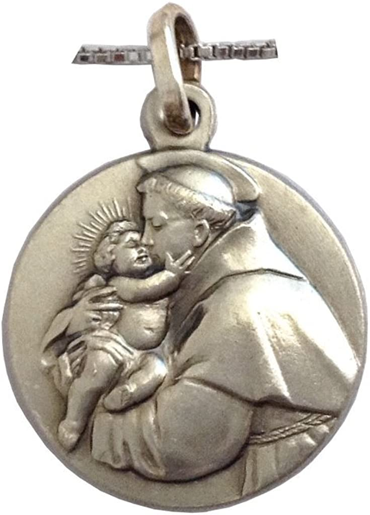 Argent sterling 925/M/édaille de Le Saint Antoine de Padoue avec cha/îne en argent sterling