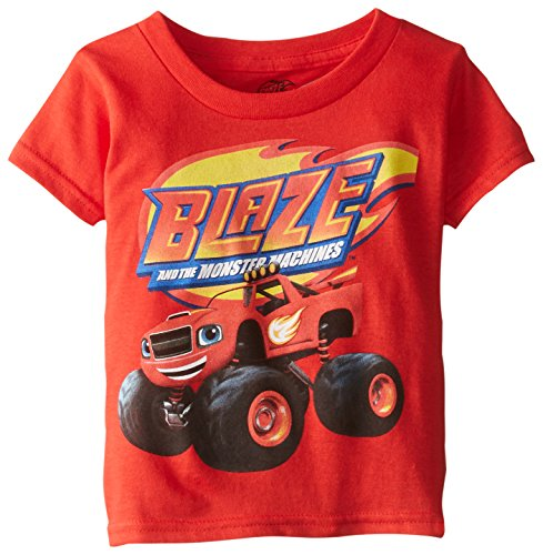 Monsters T Shirts (Blaze and The Monster Machines Little Boys' Toddler Short Sleeve T-Shirt, Red, 3T)