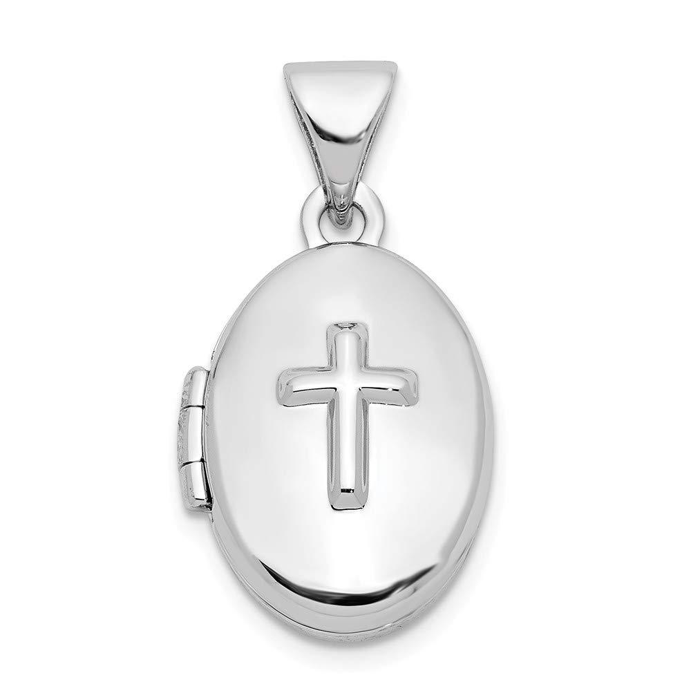 Croix en argent sterling 16mm Médaillon ovale JewelryWeb