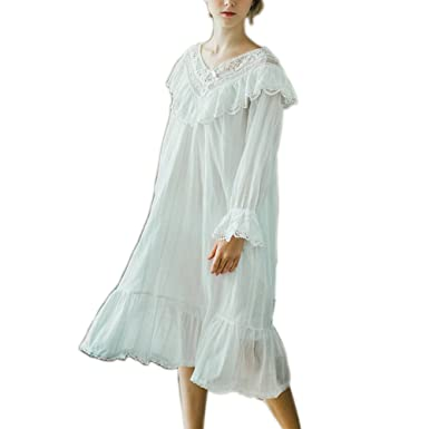Singingqueen Women s Cotton Nightgown Victorian Vintage Long Nightdress  Pajamas Lace Robe Sleepwear (Large) 351ca90ff