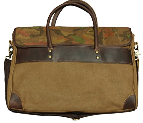 Rustic City Leather and Canvas Light Brown Briefcase Messenger Bag w Camouflage (Attache Case For Women)