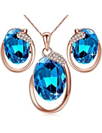 """[Presented by Miss New York] Leafael """"Hidden Dragon"""" Crystal Oval Double Circle Shape Teardrop Jewelry Set Earrings Pendant Necklace, 18"""" + 2"""", Nickel/Lead/Allergy Free, Luxury Gift Box"""