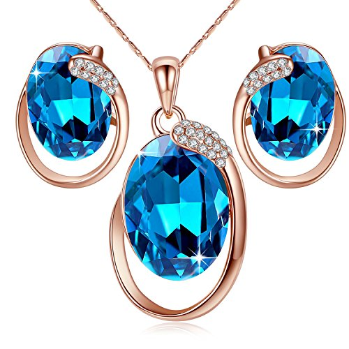 Leafael [Presented by Miss New York Austrian Crystal 18K Rose Gold Plated Oval Circle Dark Indigo Blue Jewelry Set Earrings Pendant Necklace, 18