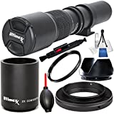 500mm F/8.0 Multi Coated High-Power Preset Telephoto Lens (For Canon) 8PC Accessory Bundle – Includes 2.0X Tele-Converter + T-Mount Adapter + MORE