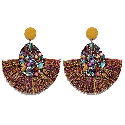 Colorful Crystal Tassel Earrings For Women Charm Earings Jewelry Wedding Statement Fringe Earring,W73972