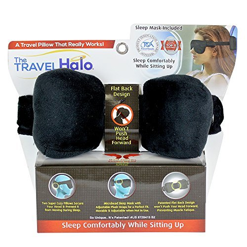 The Travel Halo by Cloudz A Pillow Alternative Fully Adjustable with Microbead Sleep Mask and (Movable Masks)