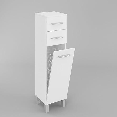 Badezimmerschrank Badmöbel HOCHSCHRANK mit wäschekorb SN5 in Weiß ...