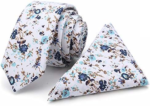 Kingdom Secret 100% Cotton Handmade Skinny Floral Tie with Pocket Square Gift Set