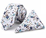 Kingdom Secret 100% Cotton Handmade Skinny Floral Tie with Pocket Square Gift Set Men's Neat Necktie(Blue and White)