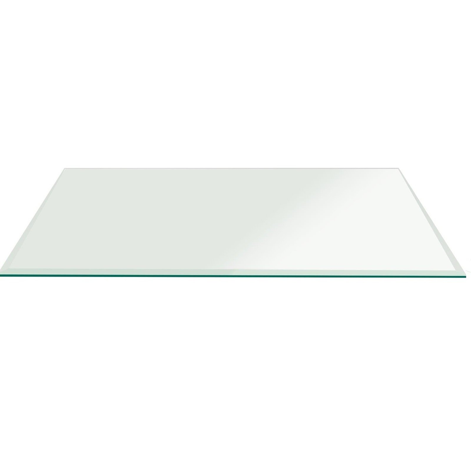 Fab Glass 36x72RECT10THBETE-T Rectangle Glass, 3/8'' Thick Bevel Tempered Radius Corners, 36'' L x 72'' W