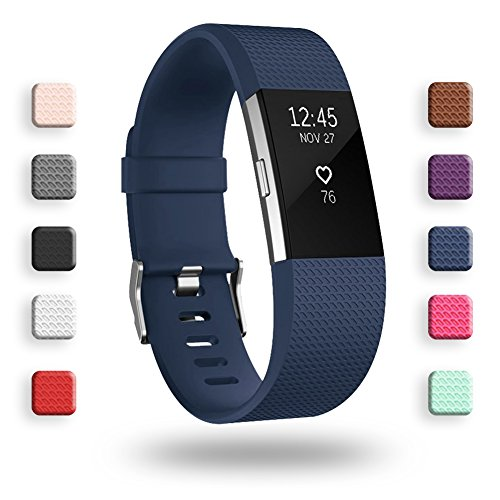 POY Replacement Bands Compatible for Fitbit Charge 2, Classic & Special Edition Sport Wristbands, Large Navy, 1PC