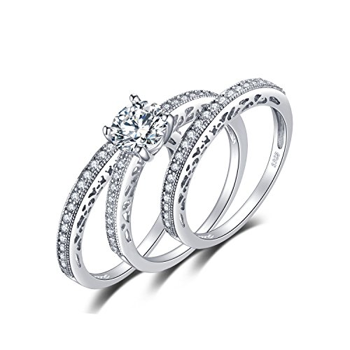- JewelryPalace 3pc Vintage Wedding Rings Solitaire Engagement Rings For Women Anniversary Promise Ring Bridal Sets 925 Sterling Silver Cubic Zirconia Simulated Diamond Size 7