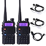 BaoFeng UV-5R Dual Band Two Way Radio 2 pack,+Baofeng 2 Way Radio Earpiece 2 pack,+1 PC Baofeng USB Programming Cable