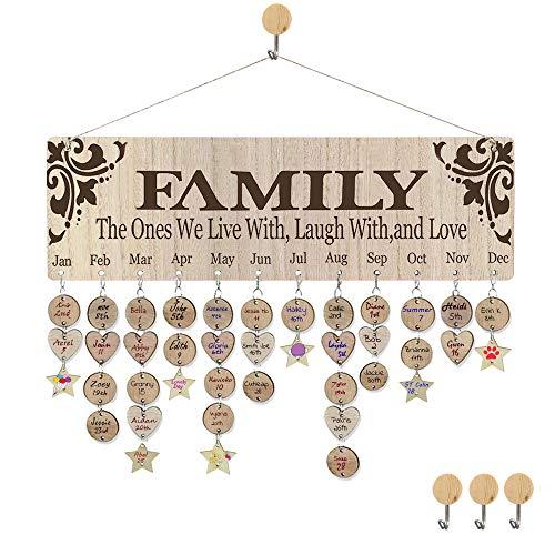 Family Birthday Calendar Plaque DIY Wooden Birthday Celebration Reminder Calendar Wall Hanging for Home Decor Birthday