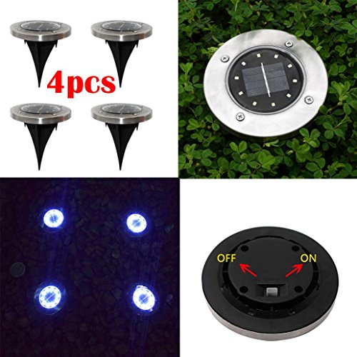 SUJING 4pcs LED Solar Ground Lights IP65 Waterproof Solar Garden Light Solar Path Lights Garden Landscape (Disk Lighting Kit)