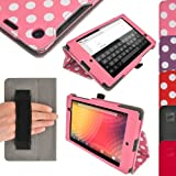 iGadgitz 'Vintage Collection' Folio Pink With White Polka Dot PU Leather Case Cover for Google Nexus 7 FHD 2013 Model 2nd Generation With Auto Sleep Wake + Hand Strap + Multi Angle Viewing Stand + Screen Protector
