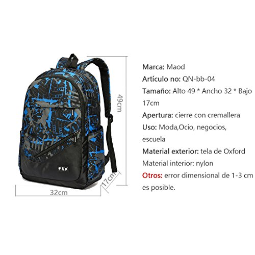 "Amazon.com: Maod Printed Nylon Water-resistent Daypack Casual School Backpack Adolescent Bookbag Men Shoulder Bag College Students Sportive Knapsack 16"" ..."