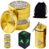 Fine herb Grinder Set for spices, weed and Tobacco: Large, 2.5-inch diameter, Metal Crusher with Pollen Catcher and Airtight Container with Lid, Gold, by GREEN-DER