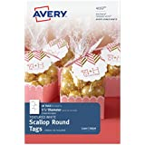 Avery Textured White Scallop Round Tags, 1-7/8 Inch Diameter, Pack of 18 Tags (41557)