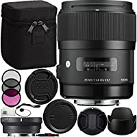 Sigma 35mm f/1.4 DG HSM Art Lens with MC-11 Mount Converter/Lens Adapter (Canon EF-Mount Lenses to Sony E) Bundle. Includes Manufacturer Accessories + 3PC Filter Kit (UV-CPL-FLD) + MORE