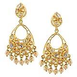 Efulgenz Indian Bollywood 14K Gold Plated Kundan Pearl Chandbali Chandelier Style Earrings Jewelry Set